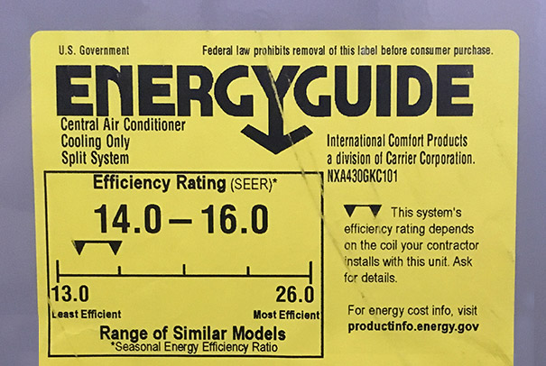 Energy Guide Label with SEER Rating