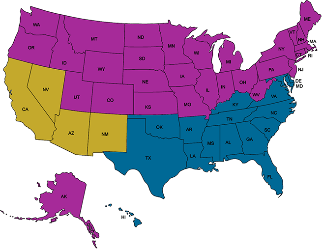 USA AC Efficiency Standards Map Regions